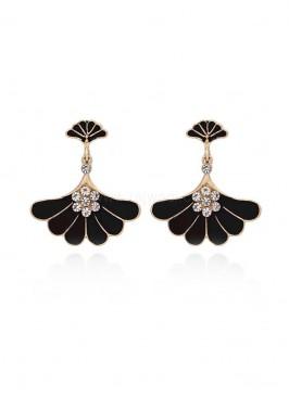 Gold Plated Black Stud Earrings