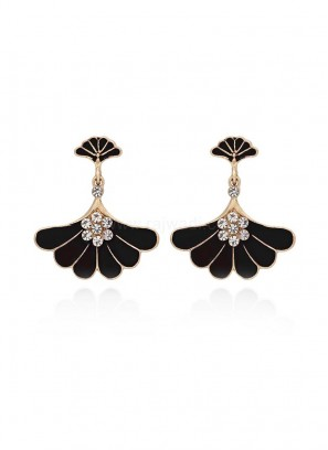 Gold Plated Black Stud Earrings
