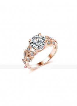 Gold Plated Blooming Cubic Zircon Ring