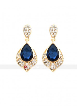 Gold Plated Blue Crystal Earrings