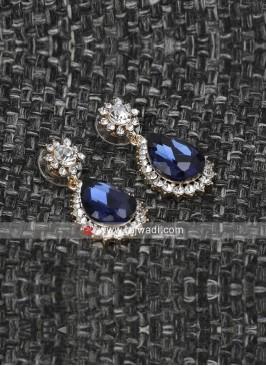 Gold Plated Blue Dangle Earrings