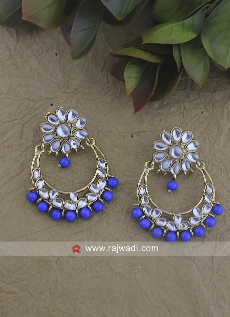 Gold Plated Chandbali Earrings with Blue Pearl