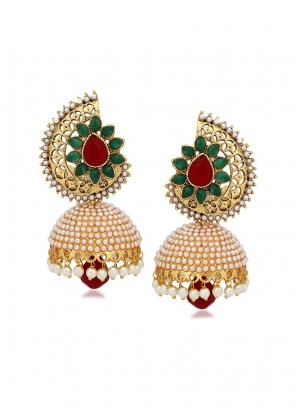 Gold Plated Pearl Drop Jhumki Earrings