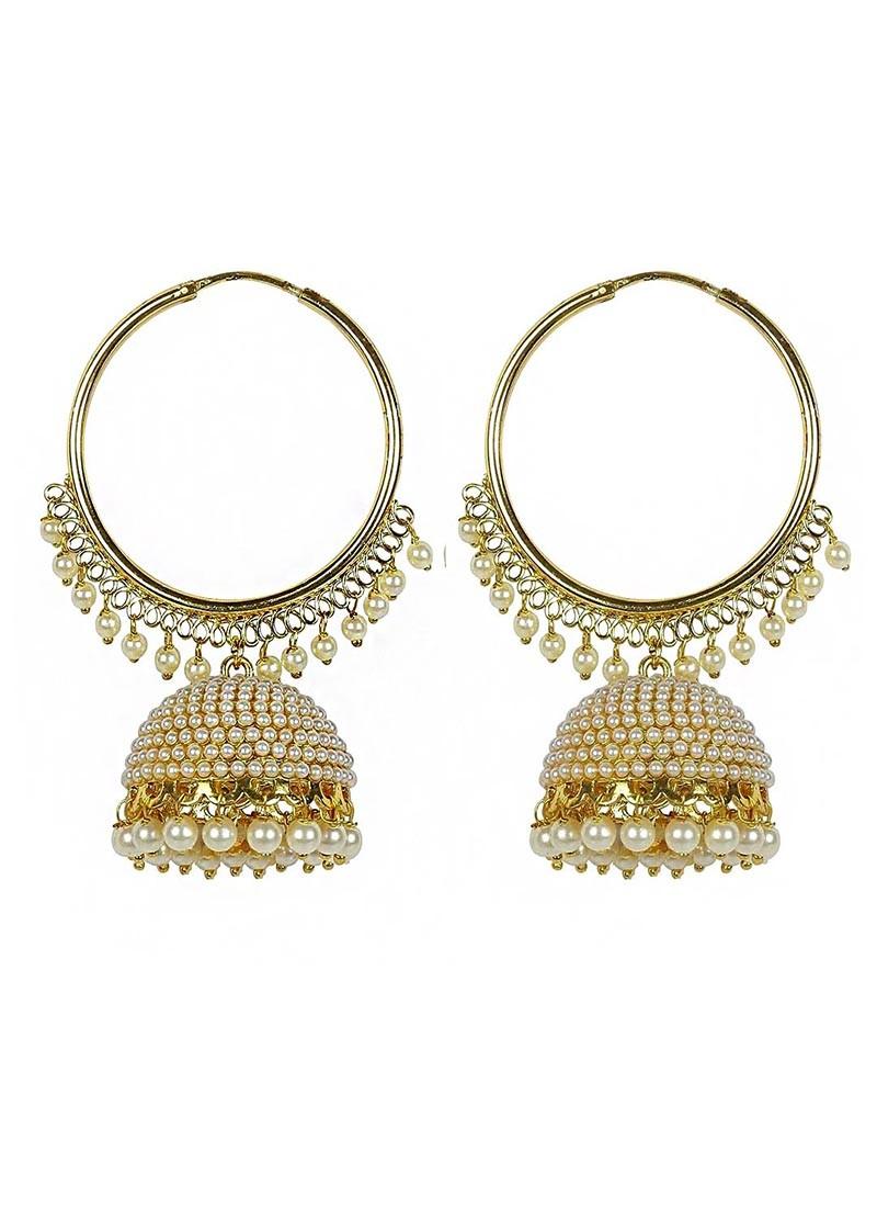 Gold Plated Pearl Hoop Jhumki Earrings