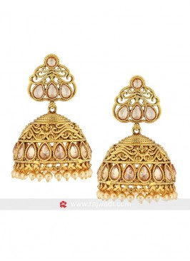Gold Plated Pearl Jhumka Earrings
