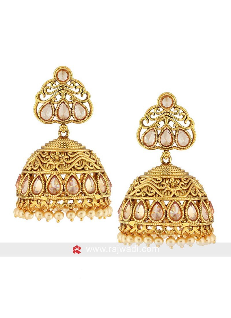 Gold Plated Pearl Jhumka Earrings