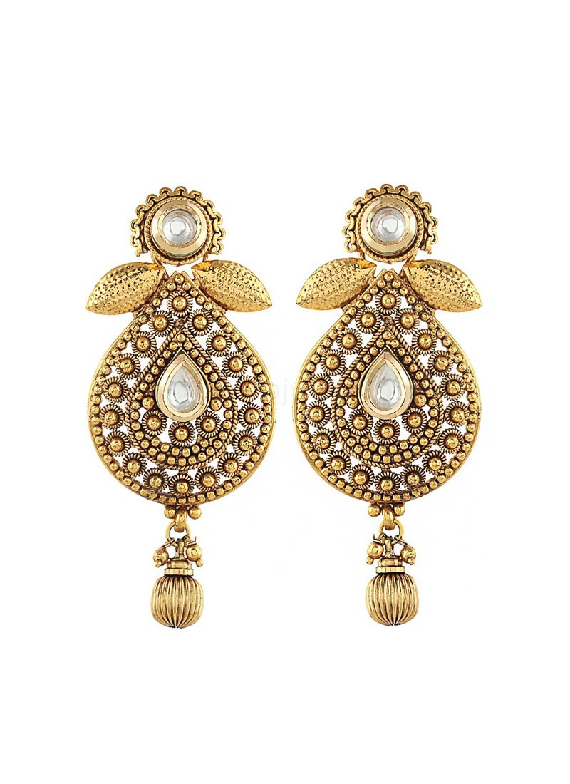 Gold Plated Push Back Drop Earrings