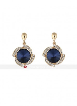 Gold Plated Stylish Blue Crystal Dangle Earrings