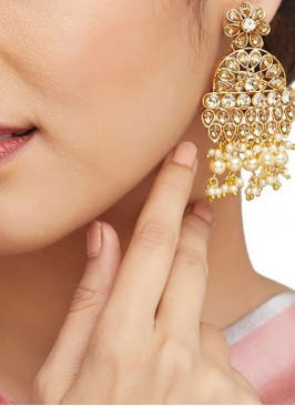 Gold Stonework Partywear Earrings