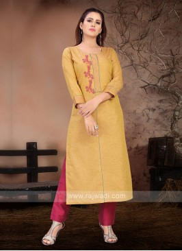 Gold Yellow & Magenta Color Kurta Set