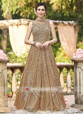 Golden A Line Embroidered Gown