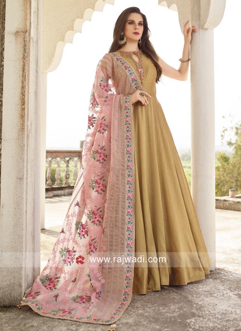 Golden Anarkali Dress with Designer Dupatta