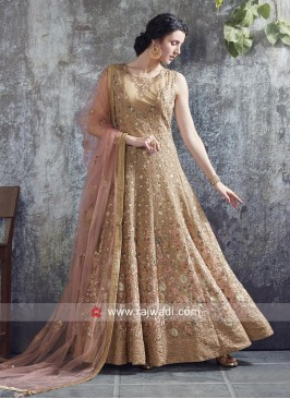 Golden Anarkali Gown with Light Pink Dupatta