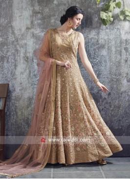 Golden Anarkali Gown with Light Pink Dupatta