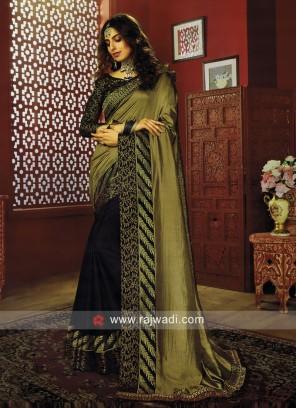 Golden and Black Half n Half Saree