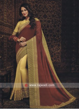 Golden and Brown Half n Half Saree