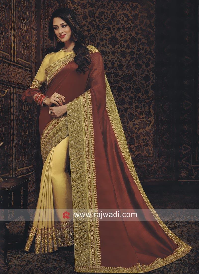 Golden and Brown Half n Half Saree