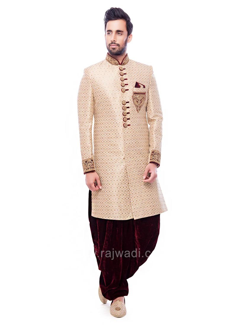 Golden and Cream Color Indo Western