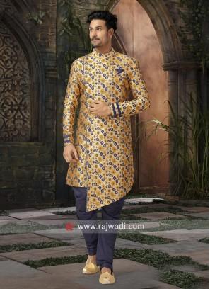 Attractive Printed Brocade Silk Indo Western
