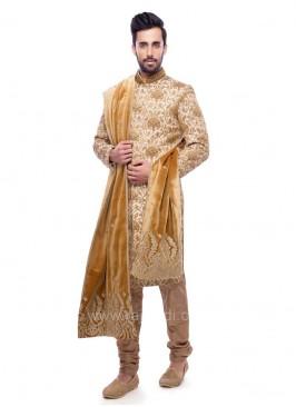 Golden and Cream Color Sherwani With Velvet Dupatta