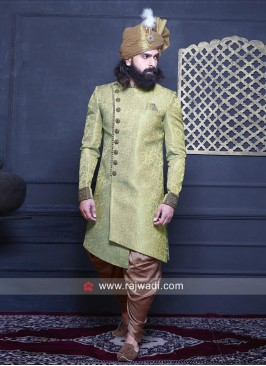 Parrot Green Indo Western For Wedding