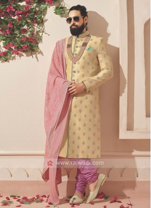 Golden And Light Pink Indo-western