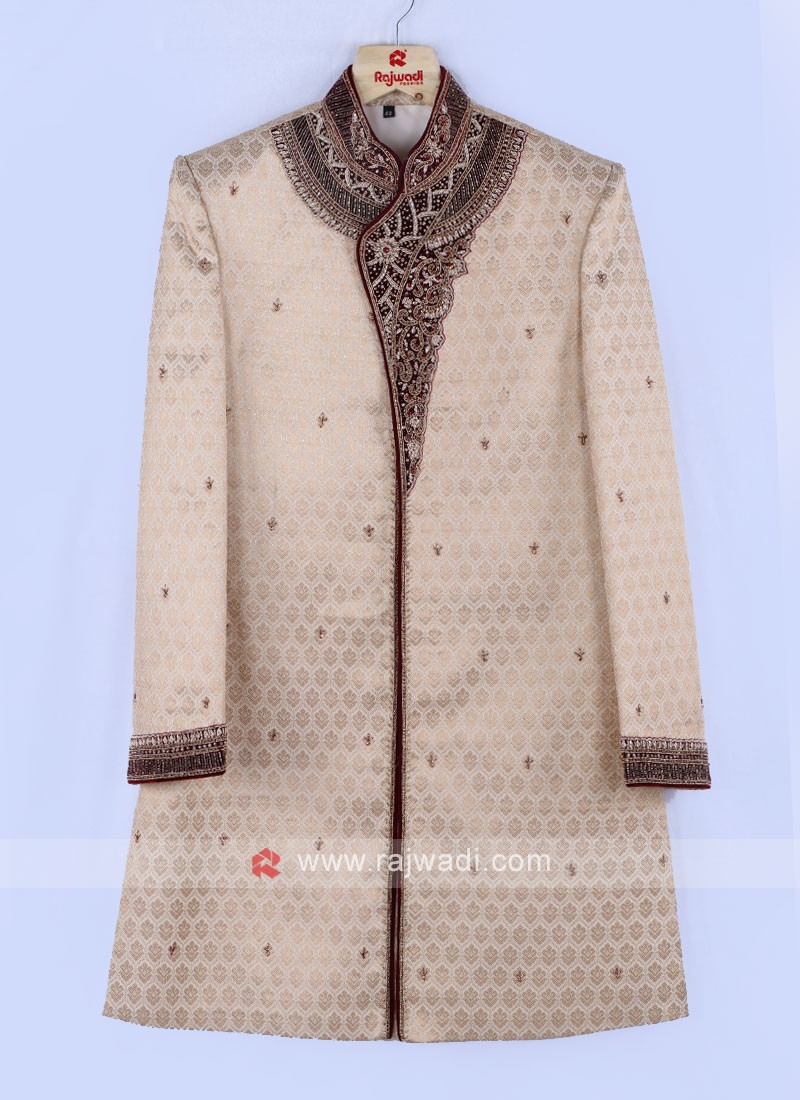 Golden And Maroon Color Indo Western