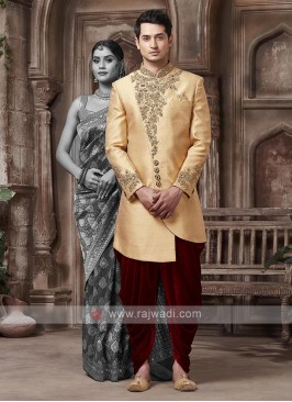Golden And Maroon Colour Sherwani
