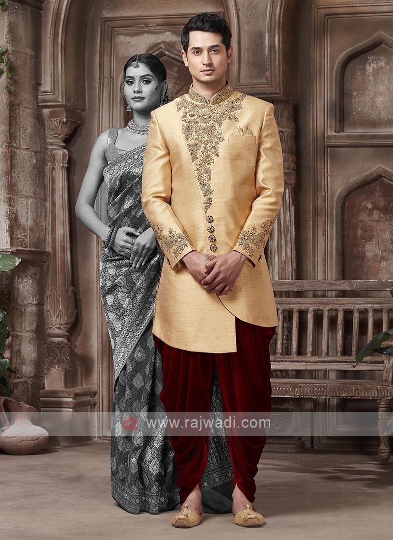 Golden And Maroon Colour Sherwani