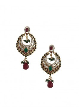 Golden and Maroon Dangler Earrings