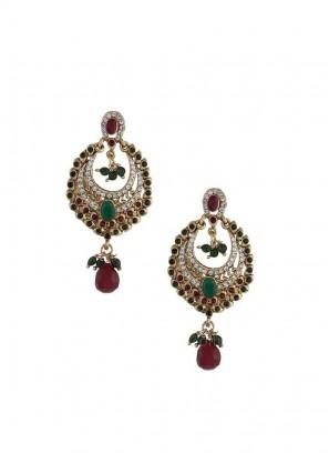 Golden and Maroon Dangler Earrings