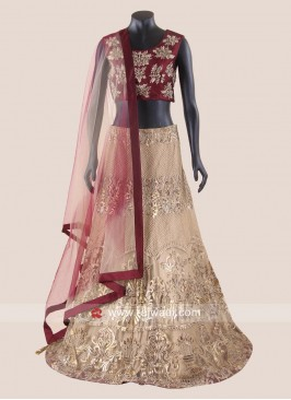 Golden and Maroon Heavy Lehenga Choli