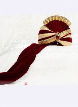 Golden And Maroon Color Marriage Safa