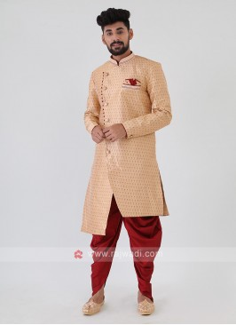 Golden And Maroon Mens Indo-Western