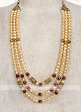 Golden And Maroon Pearl Mala For Wedding