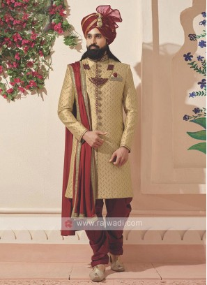 Golden and Maroon Sherwani