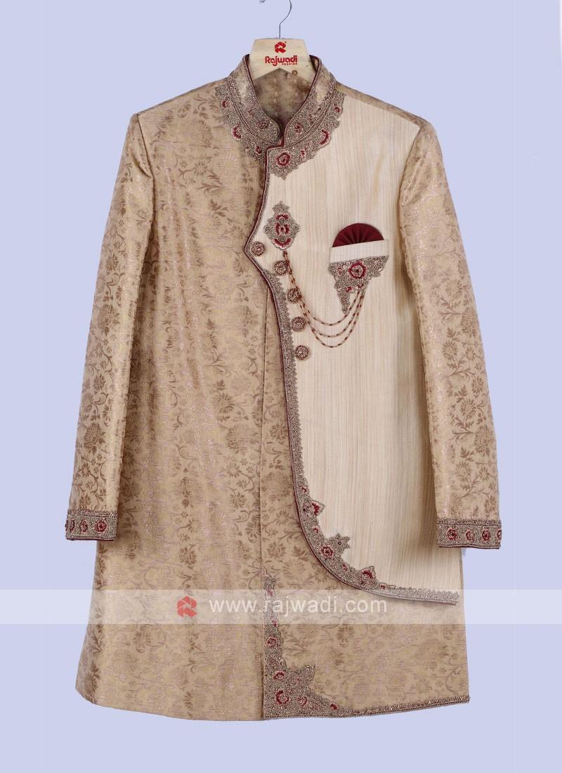 Golden And Maroon Sherwani