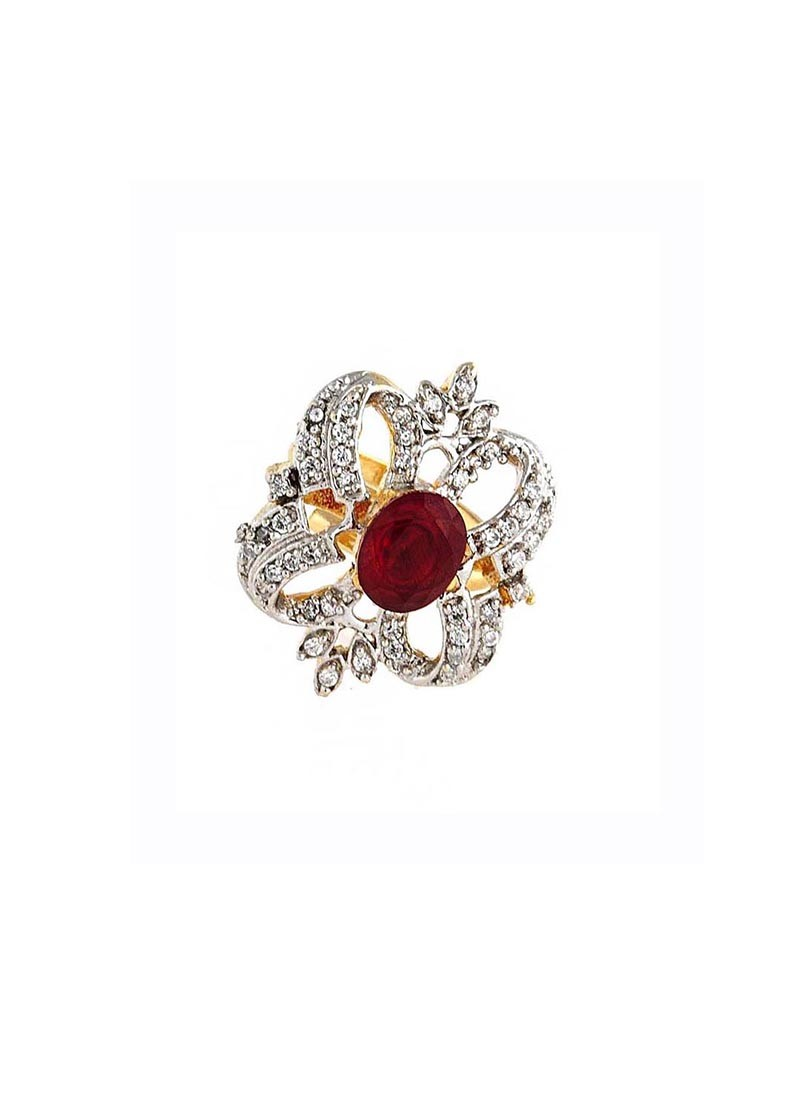 Golden and Maroon Zinc Alloy Maharani Ring