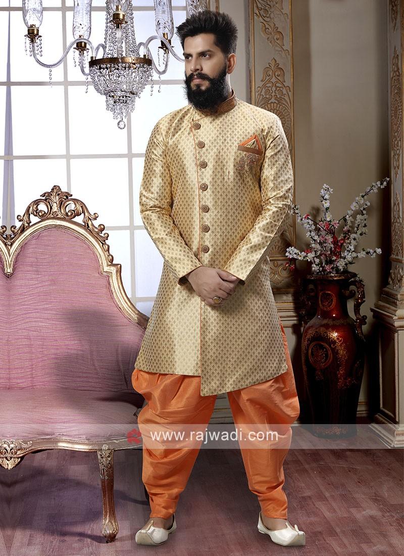 Golden And Orange Patiala Suit