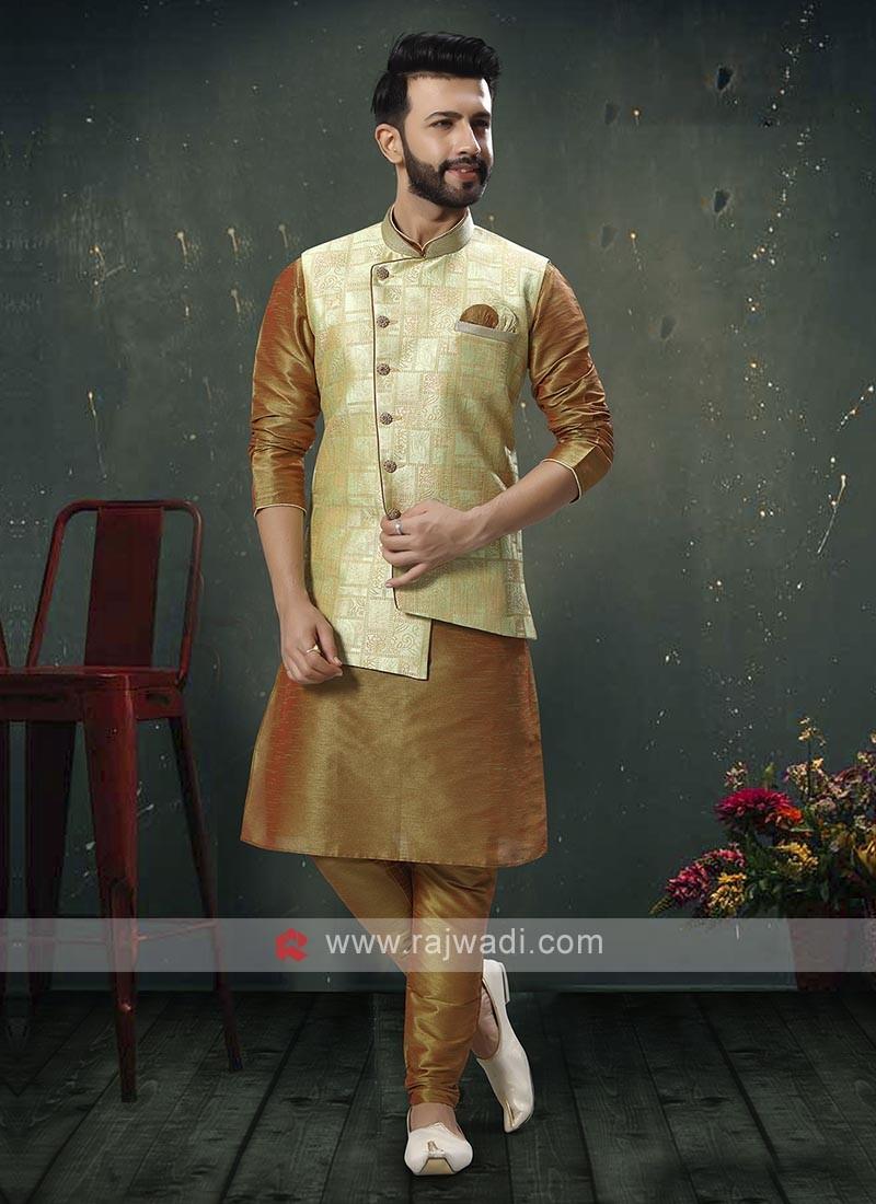 Golden And Pista Green Nehru Jacket