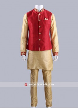 Golden and Red Color Koti Set