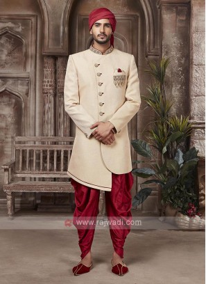 Golden And Red Colour Sherwani