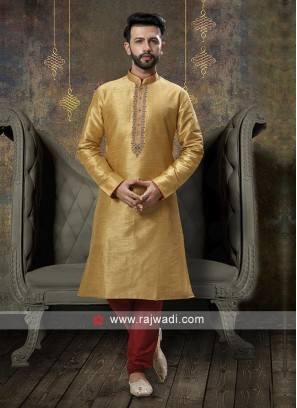 Golden And Red Kurta Pajama