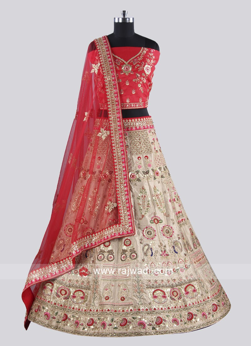 Golden And Red Lehenga Set