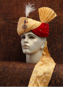 Golden And Red Turban For Wedding