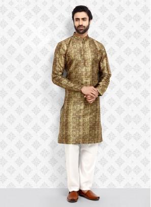 Golden And White Color Art Silk Lehenga Choli