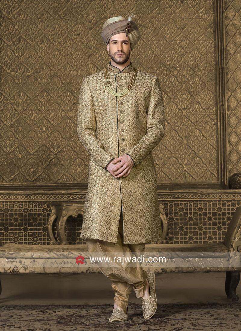 Golden Art Silk Fabric Indo Western
