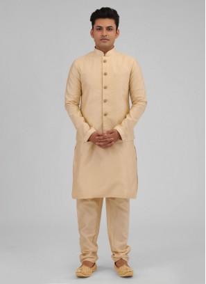 Golden Art Silk Nehru Jacket Suit