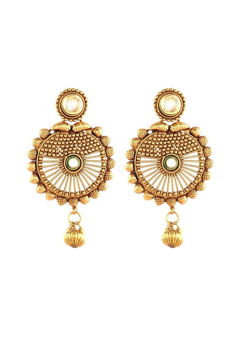 Golden Beads Drop Earrings