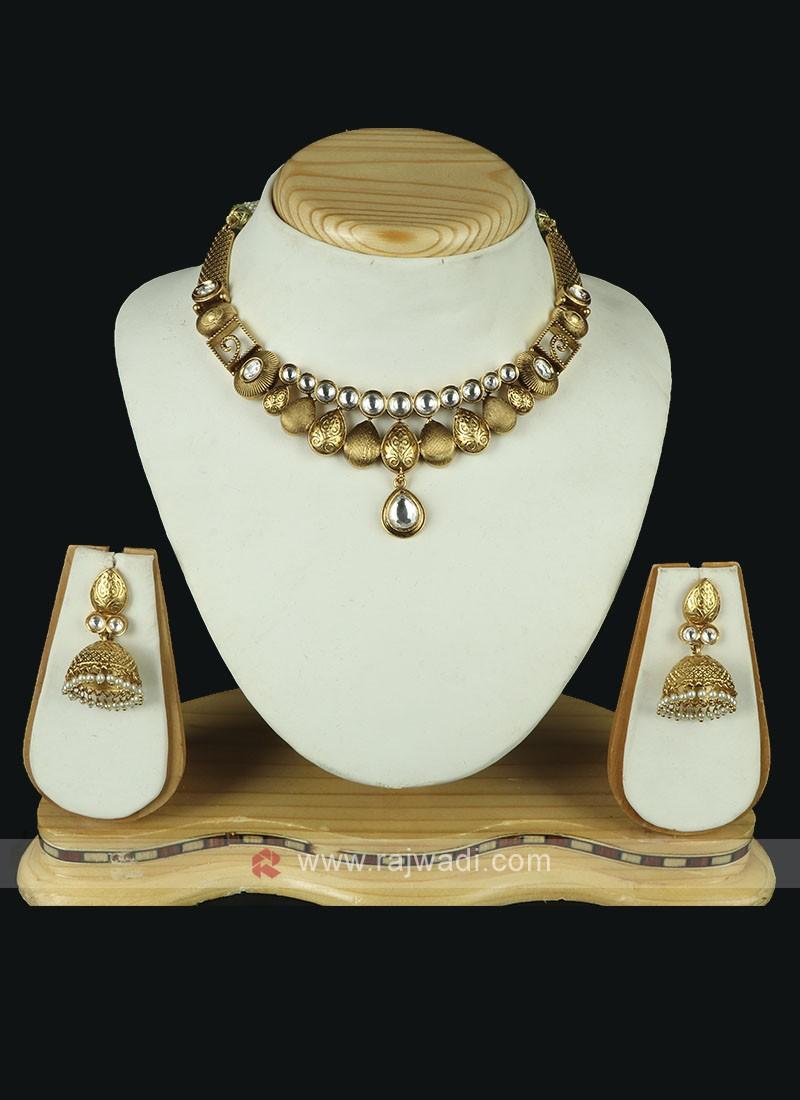 Golden Brass Metal Necklace Set